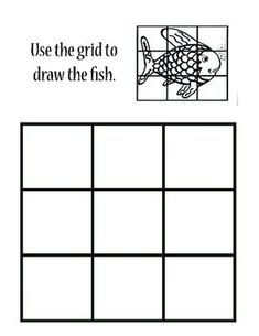 This is a fun rainbow fish inspired grid worksheet. Students match proportion and lines to the larger blank space to create their own fish.