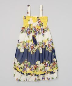 Look at this Wenchoice Yellow & Royal Floral Babydoll Dress - Infant, Toddler & Girls on #zulily today!