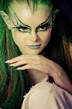 I find kellys ideas . Mua: Kelly Odell… I find kellys ideas refreshing and inter… ELF! Mua: Kelly Odell… I find kellys ideas refreshing and interesting. I present to you the Elf look =] - Elf Make Up, Halloween Make Up, Halloween Face Makeup, Halloween Nails, Makeup Art, Lip Makeup, Rave Makeup, Night Makeup, Makeup Ideas