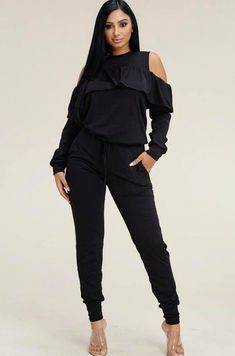 Women's 2 Piece Outfits Off The Shoulder Ruffle Top and Jogger Pant Sweatsuit Tracksuit Set 2 Piece Outfits, Dress Outfits, Fashion Outfits, Womens Fashion, Jogger Pants, Joggers, Tracksuit Set, Hip Hop Fashion, Online Fashion Boutique