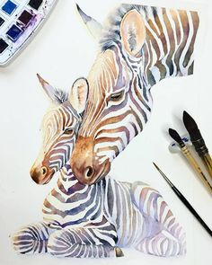 Image may contain: stripes Art Aquarelle, Watercolor Horse, Watercolor Drawing, Watercolor Animals, Watercolor Illustration, Painting & Drawing, Watercolor Paintings, Zebra Painting, Zebra Art