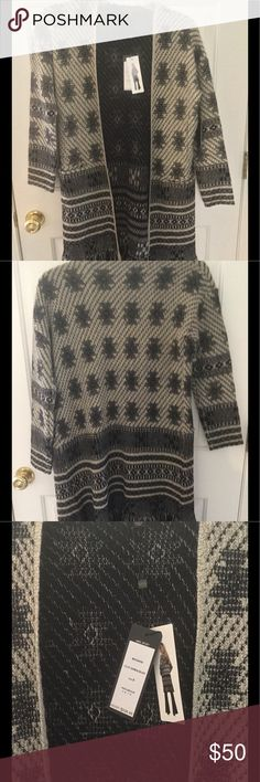 Fringe long sweater cardigan tribal print Brand new, super cute, thick material max sport Sweaters Cardigans