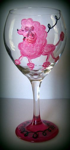 Fun activity to do at your party!   https://japancatnetwork.org/  Hand Painted Valentine Pink Poodle Wine Glass by JuneBridePaints, $15.00