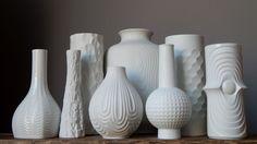 Vintage 60 70's Heinrich Bisque Porcelain White Vase Bavaria German Matt Op Art | eBay