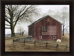 Billy Jacobs Framed Art | Jacobs Primitive Folk Art Americana Landscape 26.5×20.5 in Framed Art ...