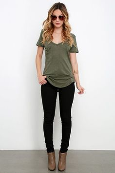 The V neck, short sleeves, and patch pocket keep the classic tee look on this olive green top, but the jersey knit fabric has a slub texture.: