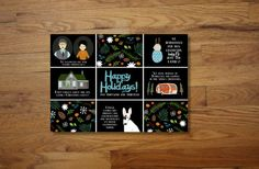 Custom Illustrated Mosaic Christmas Cards by chicksnhens on Etsy, $125.00