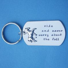 Personalized Horse Lover Key Chain Custom Horse Quote Horse Charm. $24.99, via Etsy.