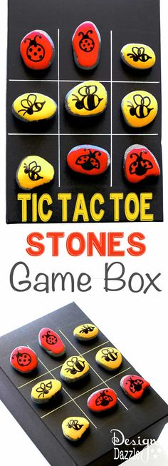 Tic Tac Toe Stones Game Box is part of Kids Crafts Outdoors Tic Tac - Tic tac toe is a classic game that keeps kids entertained! Paint your own stones and create your own game box for your very own tic tac toe game Christmas Games For Kids, Christmas Diy, Handmade Christmas, Summer Crafts, Fun Crafts, Diy For Kids, Crafts For Kids, Stone Game, Hobby Shops Near Me