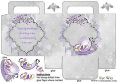Twas The Night Before Christmas Silver Gift Bag on Craftsuprint designed by Sue Way - A very special gift bag with a sleeping mouse in a silver rimmed tea cup dressed lilac Santa hat
