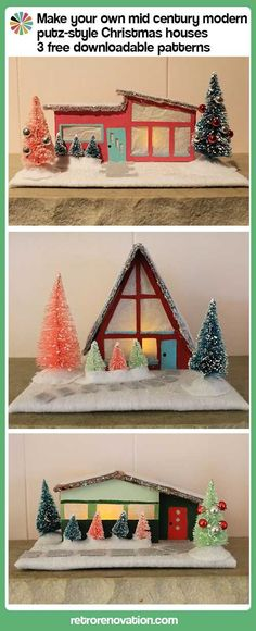 DIY Mid Century Modern putz-style Christmas Houses - 3 free downloadable patterns on Retro Renovation