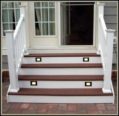 Lights in the Steps but with black composite Front Porch Steps, Front Door Porch, Deck Steps, Outdoor Steps, Front Entry, Patio Stairs, Front Stairs, Patio Doors, Outside Patio
