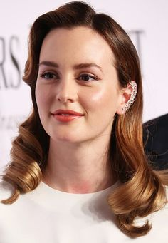 Statement Single Side Crystals EncrustedCuff Earring is a Trending Jewelry Style for Spring Summer 2014. Leighton Meester wearing single side crystals encrusted cuff earring atthe Tony Awards2014.  #earrings #jewelry
