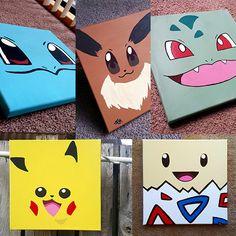 Pokemon Minimalist Square Canvas, Togepi, Pikachu, Eevee, Charmander, Squirtle…