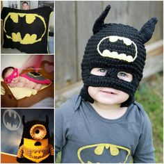 Crochet baby batman hat, half mask, made with milk protein fiber Crochet Baby Hat Patterns, Crochet Kids Hats, Crochet For Boys, Crochet Crafts, Crochet Toys, Crochet Projects, Free Crochet, Knit Crochet, Batman Crochet Hat