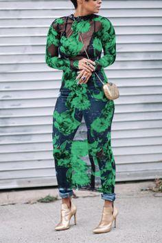 Fashion Sexy Print Sheer Green Dress Sheer Maxi Dress, Backless Maxi Dresses, Mesh Dress, Floral Maxi Dress, The Dress, Green Dress Outfit, Yellow Dress, Chic Outfits, Fashion Outfits