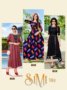"Welcome to KRISHA PRINT (KP KURTI) ..,  We are introducing KRISHA  PRINT   New Catalogue Launch  Catalogue:- SIMI Vol- 2 cloth :- HEAVY REYON PRINT  (14kg)  Concept :- STITCH PATTERN  Length :- 50""MINIMUM  Rate:-575/+GST  Size:- L XL 2XL  AVAILABLE Design:-6  Dispatch Tuesday"