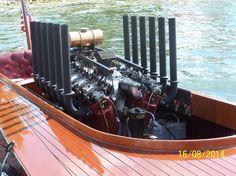 John & Amy Zea's 1924 Hacker designed race boat with it's 1918 Liberty V12. The boat is Vogler Boy V