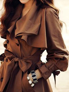 Super Super Cute! Love this Coat! Tie Waist Double-breasted Swing Coat In Brown With Ruffle Details | Choies