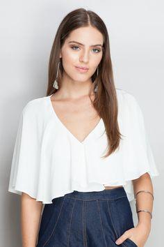 blusa transpasse curta | Dress to