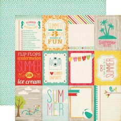Echo Park - Summer Bliss Collection - 12 x 12 Double Sided Paper - Say Hello at Scrapbook.com $.49