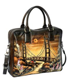 Biacci Brown & Beige Hand-Painted Bridge Leather Tote | zulily