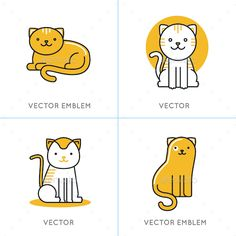 Buy Cat Icons and Illustrations by venimo on GraphicRiver. Vector set of icons and illustrations in trendy linear style – smiling and friendly cats – logo design templates for .