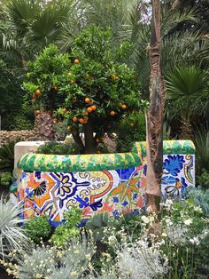 'Inspired by Barcelona' mosaic wall by Gary Drostle created for Sarah Eberle's award winning garden at RHS Chelsea 2017