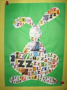 Motivy dle abecedy - koláž z písmen z tisku Name Activities, Letter Recognition, Art Lessons, Crafts For Kids, Classroom, Easter, Lettering, Logos, Reading