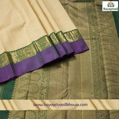 New Arrival. #Beige with double color border like green and purple along with annam, mango motifs. The silk saree has green blouse and zari mango motifs on the pallu. Shop our wide range collections of #Kanjivaram pure #wedding silk sarees online at hayagrivassilkhouse.com #Silksarees #Weddingsilks #traditionalsilks #Kanjivaramsilks  Visit us: https://www.hayagrivassilkhouse.com/saris/2720-hayagrivas-kanjivaram-silk-sari-16s1018j7.html