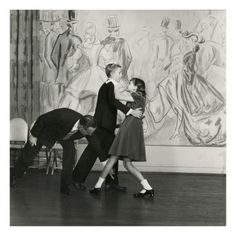 The golden era of dancing school is the subject of this Frances McLaughlin-Gill photograph. Candida Mabon attempts a move with partner William C. Breed as an instructor corrects the pair accordingly. This humorous photograph appeared in the December 1, 1948, Vogue.