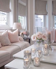 37 Cute Pink Living Room Design Ideas Disclaimer, I have no real proof that a lady would love this room I'm about to share with you, and […] Living Room Grey, Home Living Room, Apartment Living, Interior Design Living Room, Living Room Designs, Romantic Living Room, Blush Pink Living Room, Cozy Living, Feminine Living Rooms
