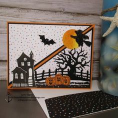 handmade Halloweeen card ... fun scene with lots of die cuts ... diagonal easel fun fold format ... directions on her blog ... Stampin' Up!