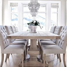 I love this table for the dining room and chairs. I love this table for the dining room and chairs. Dining Room Table Decor, Dining Room Design, Dining Room Furniture, Living Room Decor, Dining Rooms, Dining Room Inspiration, Home Decor Inspiration, Luxury Dining Room, Dinner Room