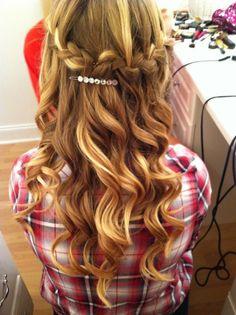 curly waterfall braid