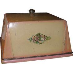 c 1910 Tin Cover & Bread Board - Pink & Cream - Glass Knob