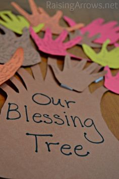 Make a Blessing Tree this Thanksgiving season from construction paper hands | RaisingArrows.net