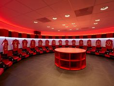 15 Of The Most Impressive Dressing Rooms In Football - talkingbaws Changing Room, Ac Milan, Fc Barcelona, Squat, Football Team, Ronaldo, Liverpool, Soccer, Dressing Rooms