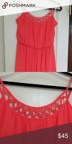 Dress Coral summer dress, high low. Only worn twice. Has adjustable straps BCX Dresses High Low