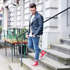 Men street style leather biker jacket red converse brought to you by Tom Maslanka