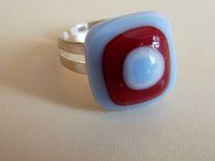 Üveghíd design glass - üvegékszer kék piros gyűrű