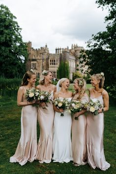 Hawarden Castle Pavilion Wedding with Off the Shoulder Savannah Miller Wedding Dress and Pink Satin Bridesmaid Dresses by Michael Maurer Photography Ghost Bridesmaid Dress, Indian Bridesmaid Dresses, Tea Length Bridesmaid Dresses, Mismatched Bridesmaid Dresses, Wedding Bridesmaids, Bridesmaid Bouquets, Wedding Dresses, Destination Bridesmaid Dresses, Bridesmade Dresses