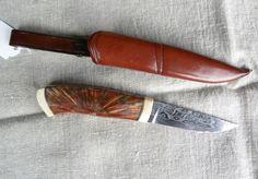 Kniv av tvärsågad björk och mammut