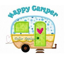 Happy Camper Applique - 3 Sizes! | What's New | Machine Embroidery Designs | SWAKembroidery.com
