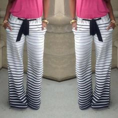 Stripped Loose-Fitted Pants