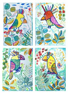 let's flamingle collection by antuanetto - Tropical surface pattern and print design Vector illustrations and clipart Art Auction Projects, School Art Projects, Kindergarten Art Lessons, Art Lessons Elementary, 2nd Grade Art, Expressive Art, Art Programs, Preschool Art, Art Lesson Plans