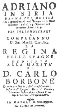 Frontispice of the first performance of Pergolesi's Adriano in Siria