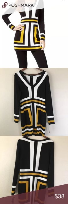 INC International Concepts Women's Tunic Dress XL V-Neck Tunic Dress XL    This sweater is very pretty, the yellow is beautiful. It is low cut on and you will layer it, but it is great with leggings. International Concepts Color blocked Tunic Sweater with black tights and flat black boots and a black sweater and you'll looke awesome! Bold color blocked details add mod style   V-Neck   Pullover styling  Color blocked design  Fitted  Hits at hip  Viscose/nylon  Machine…
