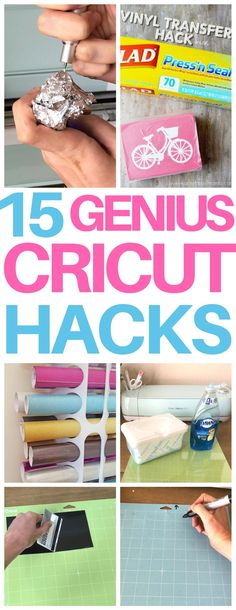 Totally wish I had thought of these genius Cricut hacks! Cricut beginners must read these tips and tricks for keeping blades sharp, cleaning mats, weeding and more! After reading this list of Cricut hacks, you'll be exclaiming Cricut Air 2, Cricut Mat, Cricut Help, Cricut Craft Room, Cricut Vinyl, Cricut Pens Hack, Cricut Banner, Cricut Cuttlebug, Cricut Cards