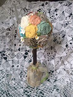 Топиарий из текстильных роз – купить или заказать в интернет-магазине на Ярмарке Мастеров | Топиарий из текстильных роз (хлопок, лен), высота…